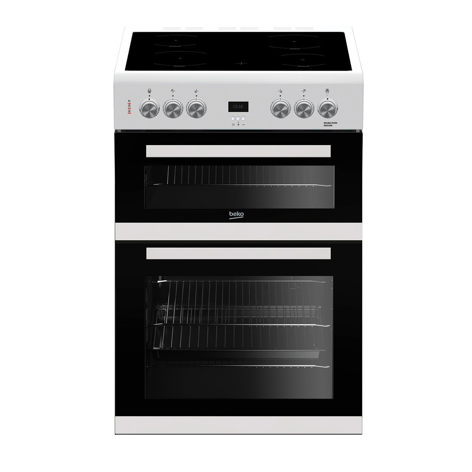 Beko 60cm Double Oven Electric Cooker with Ceramic Hob - White - A/A Rated - 0