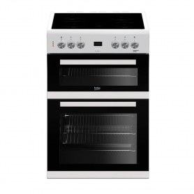Beko 60cm Double Oven Electric Cooker with Ceramic Hob - White