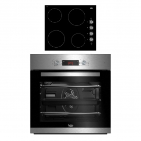 Beko CIF81X and CIHV21B Built In Single Oven and Ceramic Hob Package