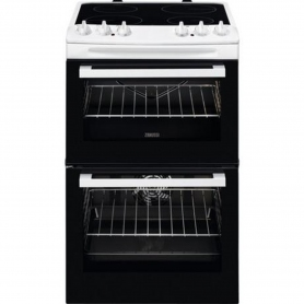 Zanussi 55cm Electric Double Oven with Ceramic Hob - White - A/A Rated