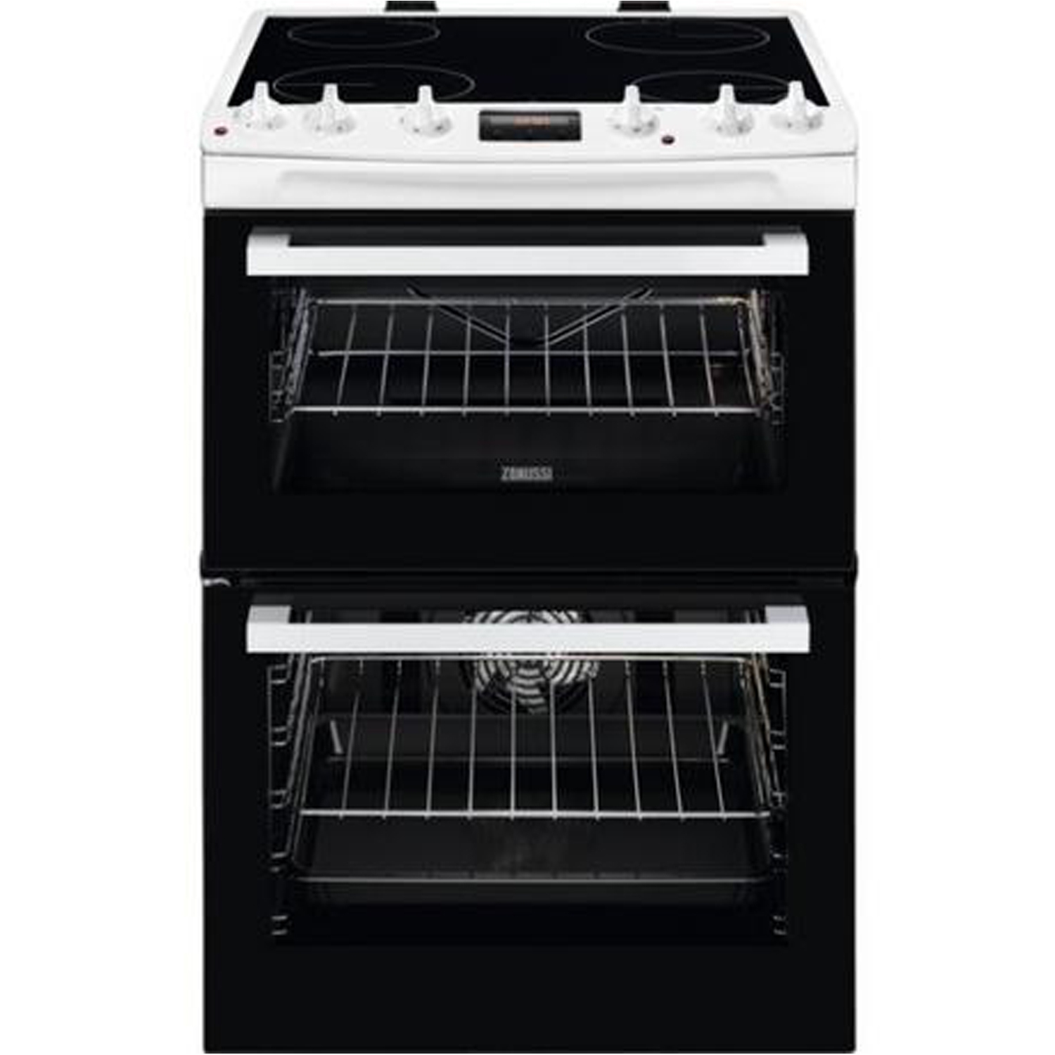Zanussi 60cm Electric Double Oven with Ceramic Hob - White - A/A Rated - 0