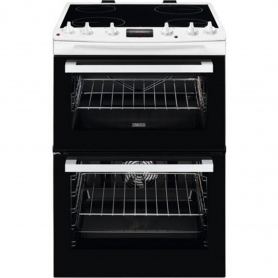 Zanussi 60cm Electric Double Oven with Ceramic Hob - White