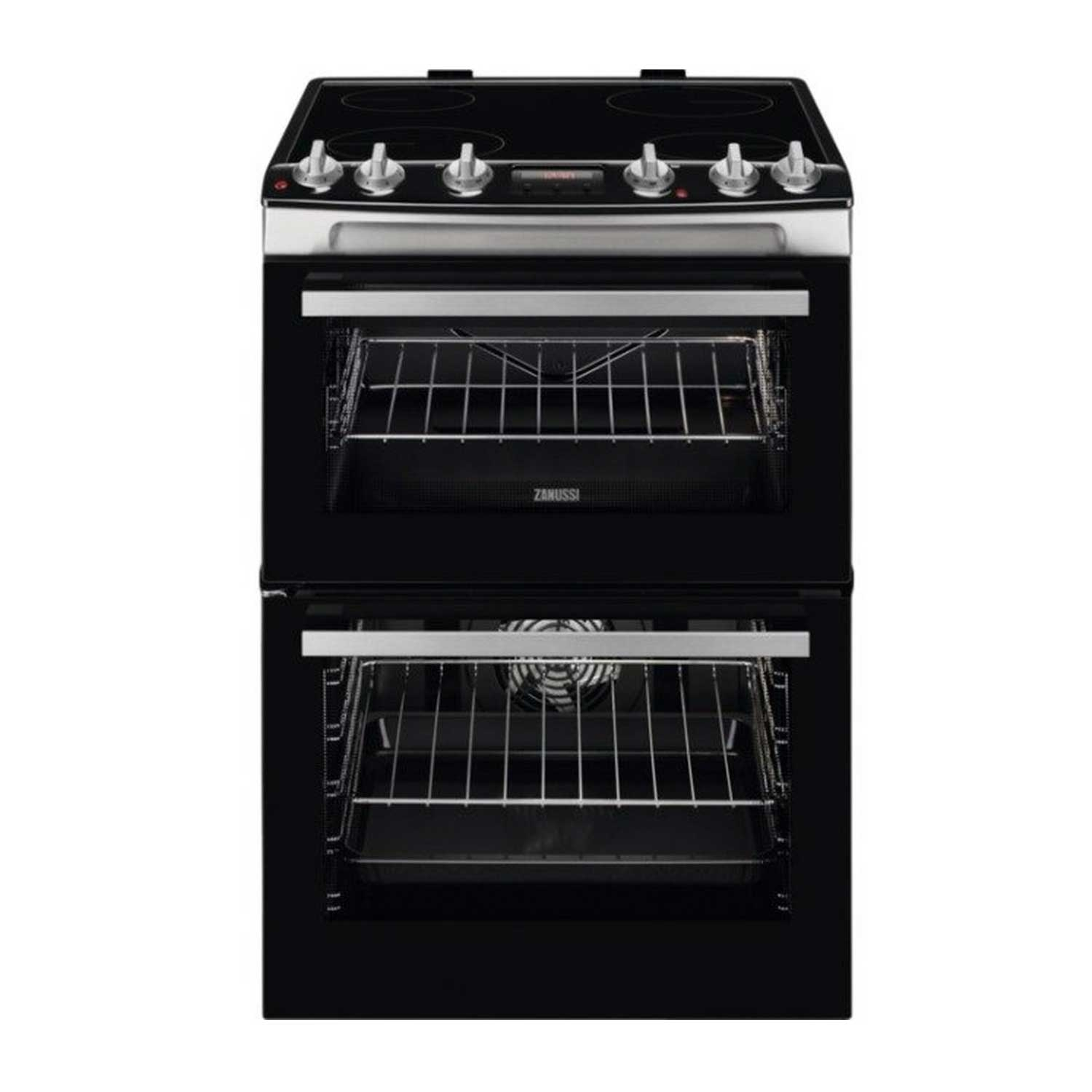 Zanussi 60cm Electric Double Oven with Ceramic Hob - Stainless Steel - 0