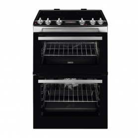 Zanussi 60cm Electric Double Oven with Ceramic Hob - Stainless Steel - A/A Rated - 0