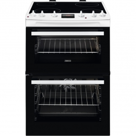 Zanussi 60cm Electric Double Oven with Ceramic Hob - White - A/A Rated