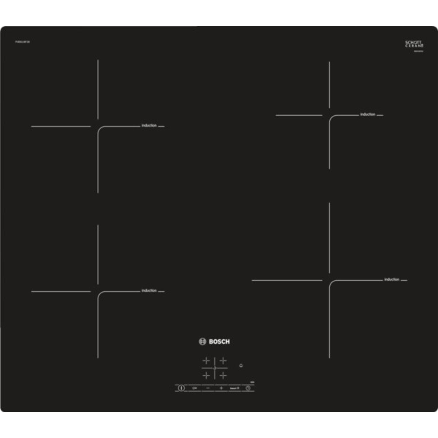 Bosch PUE611BF1B 60cm Induction Hob - Black - 0