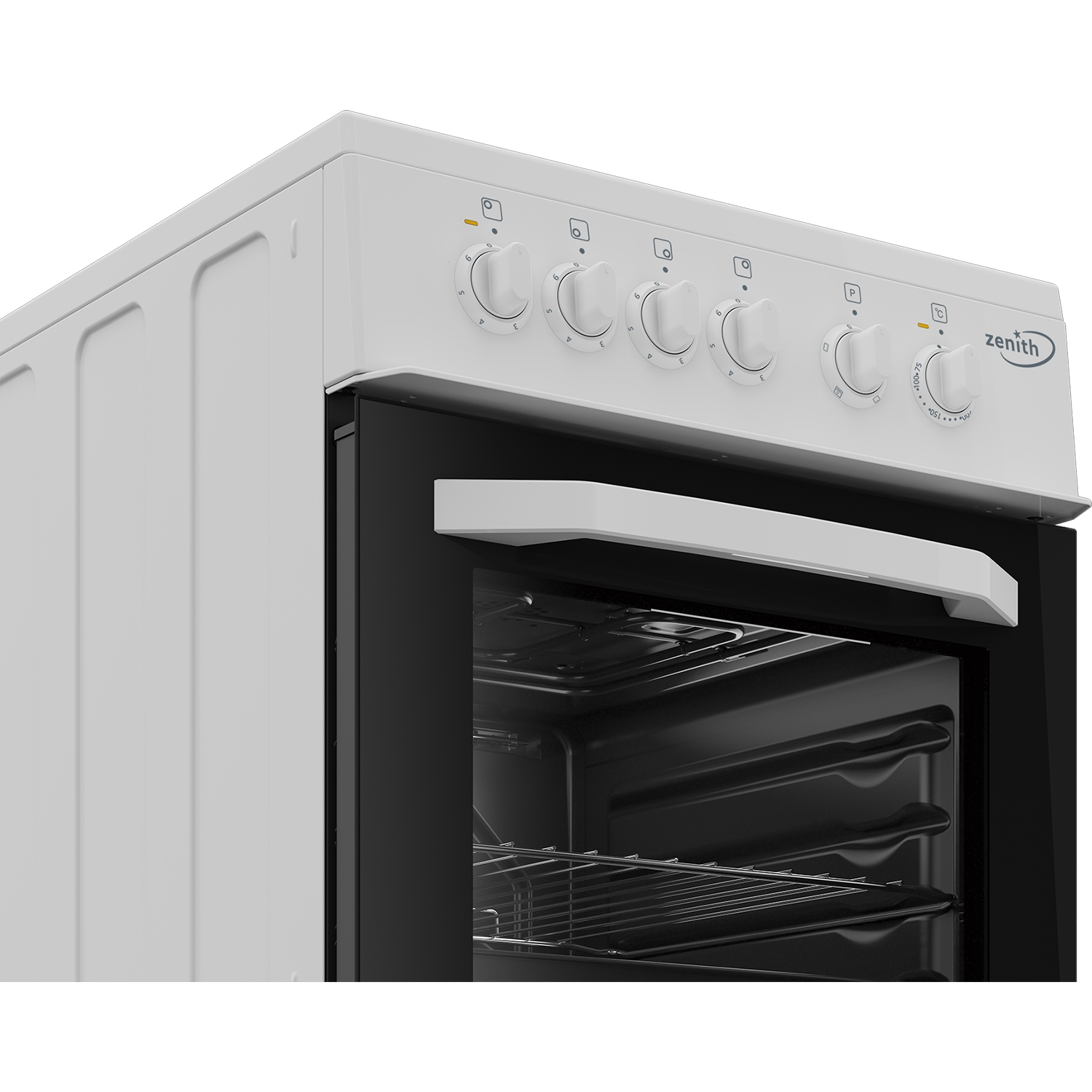 Zenith 50cm Single Oven Electric Cooker with solid plate - hob White- A Energy Rated - 3