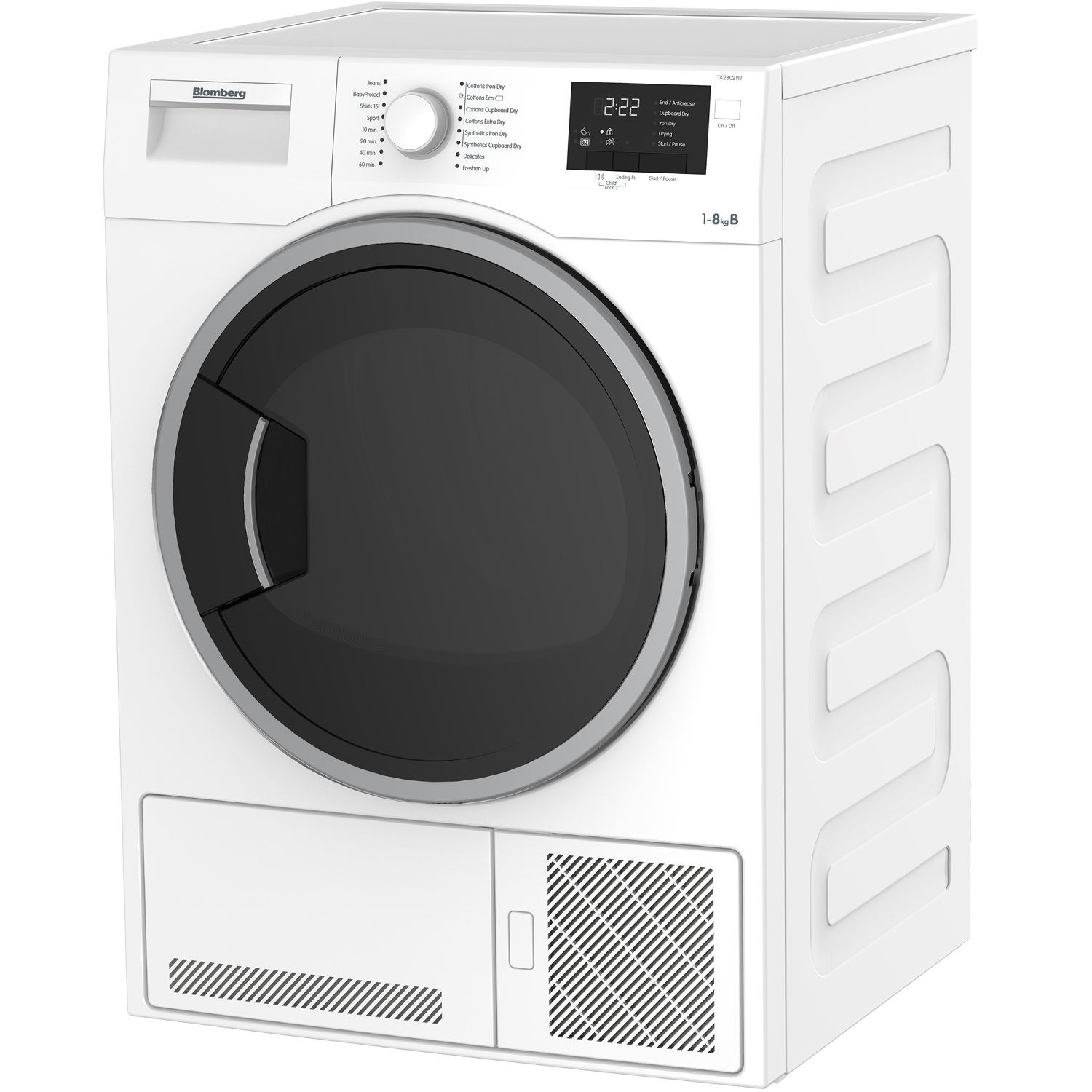 Blomberg LTK28021W 8kg Condenser Tumble Dryer - White - 2