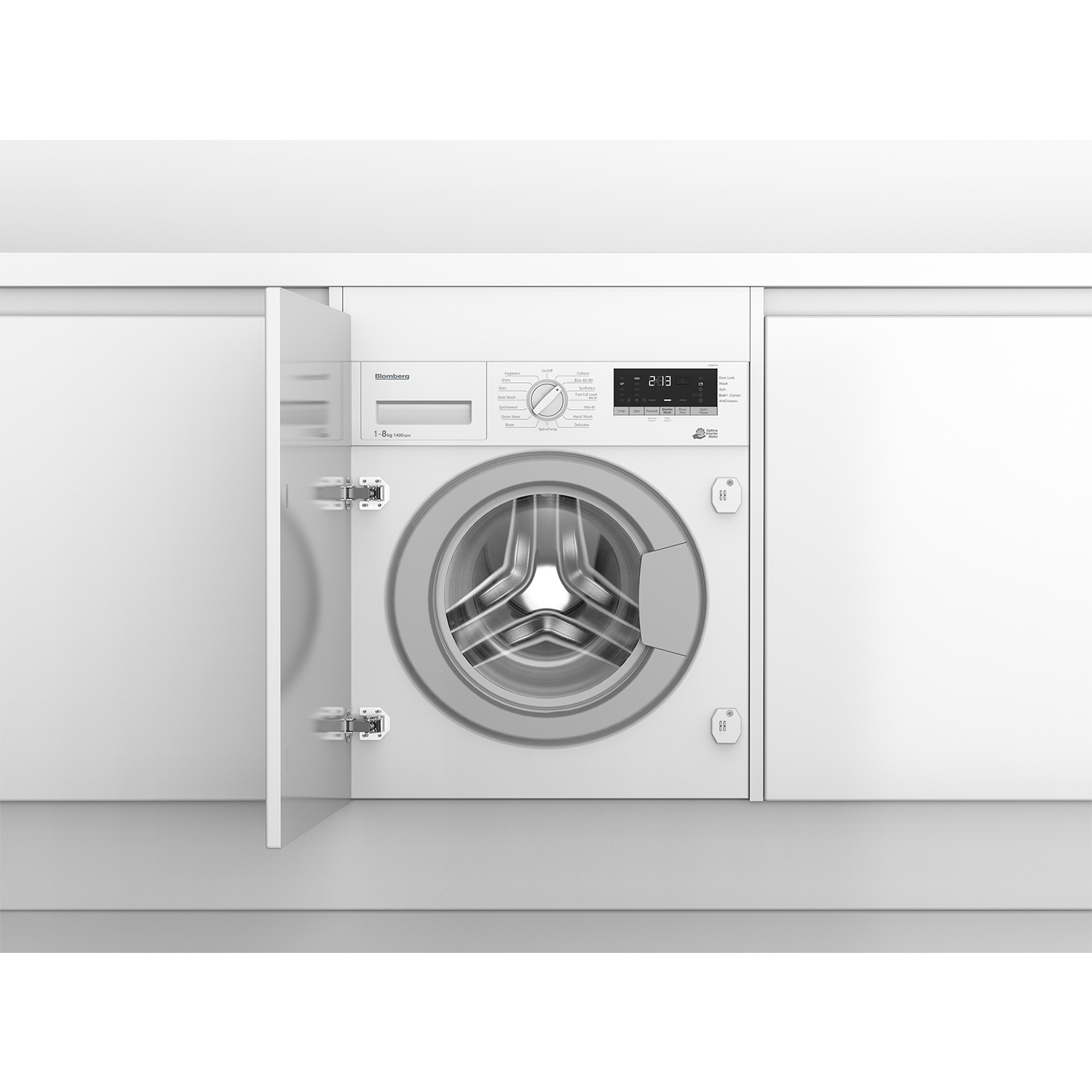 Blomberg LWI284410 8kg 1400 Spin Built In Washing Machine with Fast Full Load - White - 0