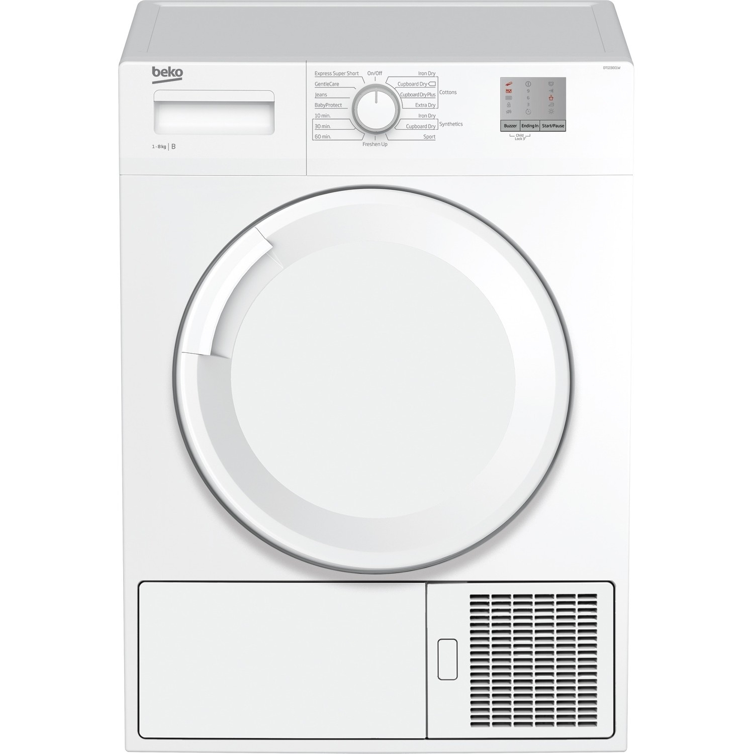 Beko 8kg Condenser Tumble Dryer - White - B Rated - 0