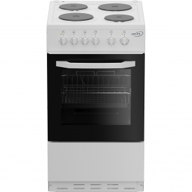 Zenith 50cm Single Oven Electric Cooker with solid plate - hob White- A Energy Rated