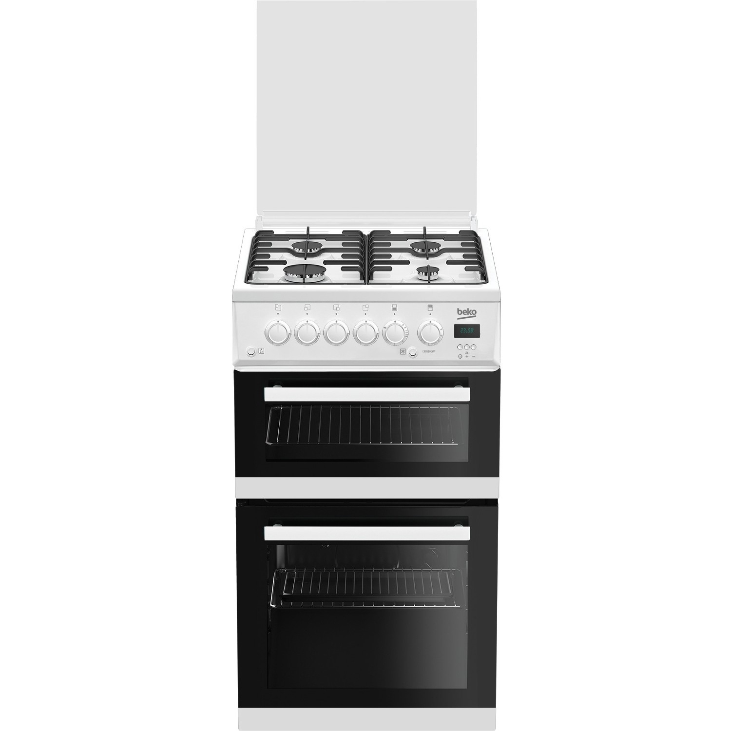 Beko 50cm Twin Cavity Gas Cooker with Glass Lid - White - 0