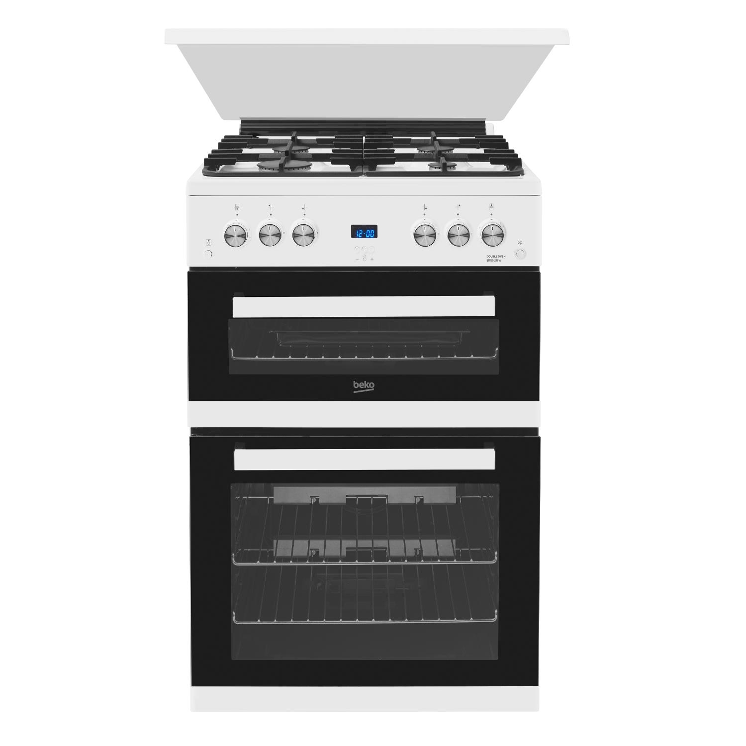 Beko 60cm Double Oven Gas Cooker with Glass Lid - White - 0