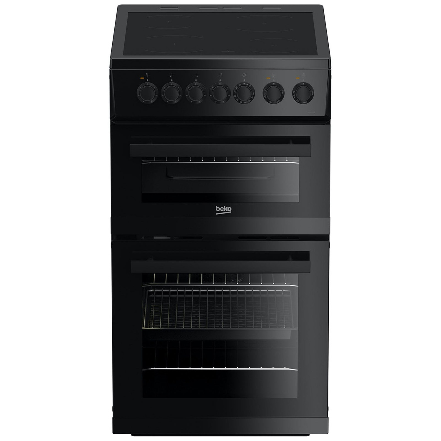 Beko 50cm Double Oven Electric Cooker with Ceramic Hob - Black - A Energy Rated - 0
