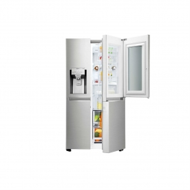 LG ELECTRONICS InstaView Door-in-Door American Style Fridge Freezer - PREMIUM STEEL - A++ Energy Rat