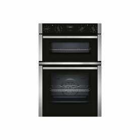 NEFF Electric CircoTherm® Double Oven Oven - BLACK/STEEL - A Energy Rated