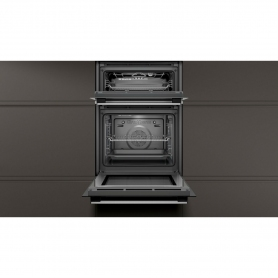 Neff Built In Electric Double Oven - Black & Steel - A Energy Rated - 3