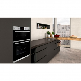 Neff Built In Electric Double Oven - Black & Steel - A Energy Rated - 1