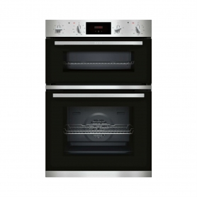 Neff Built In Electric Double Oven - Black & Steel - A Energy Rated