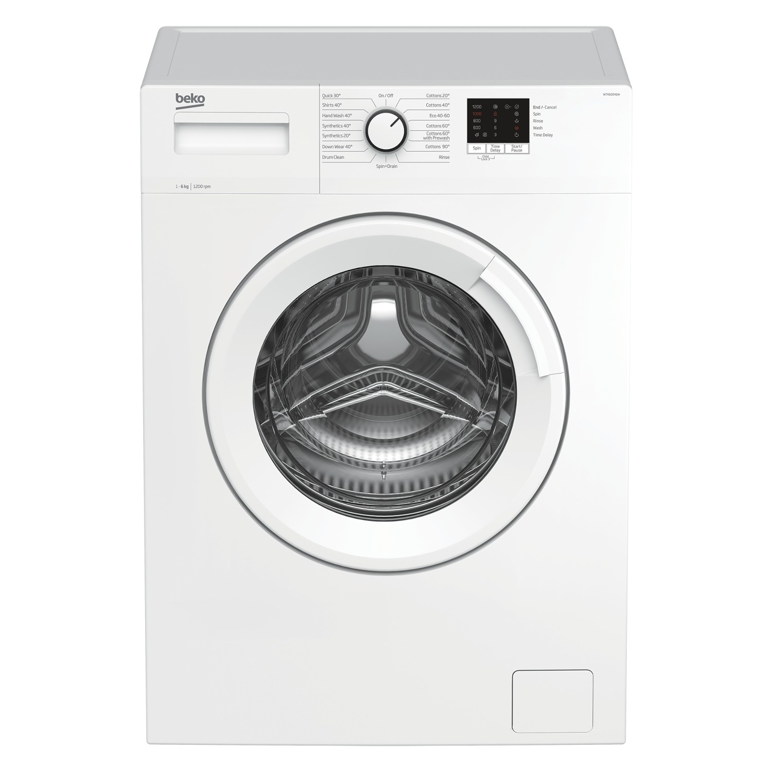 Beko WTK62041W 6kg 1200 Spin Washing Machine with Quick Programme - White - 0