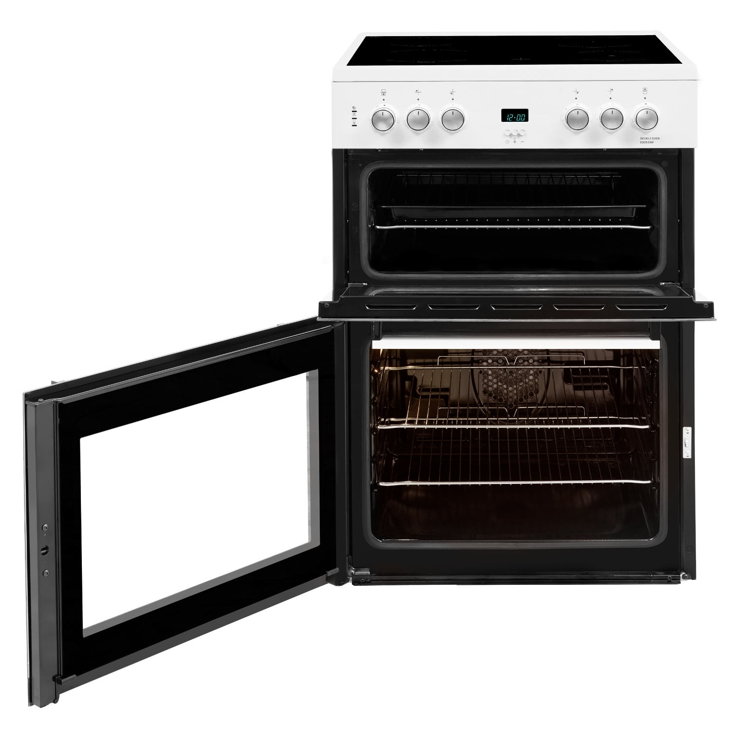 Beko 60cm Double Oven Electric Cooker with Ceramic Hob - White - A/A Rated - 3