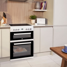 Beko 60cm Double Oven Electric Cooker with Ceramic Hob - White - A/A Rated - 4