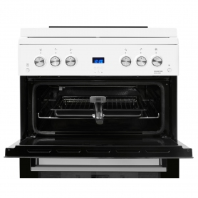 Beko 60cm Double Oven Gas Cooker with Glass Lid - White - 6