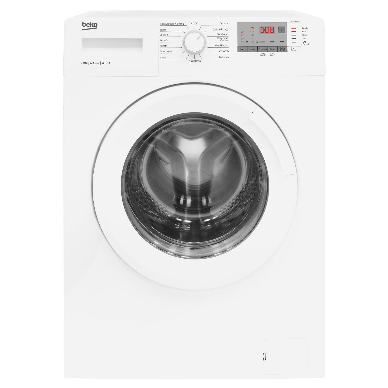 Beko 8kg 1200 Spin Washing Machine with Daily Quick Wash - White - 0