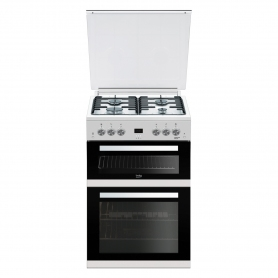Beko 60cm Double Oven Gas Cooker with Glass Lid - White