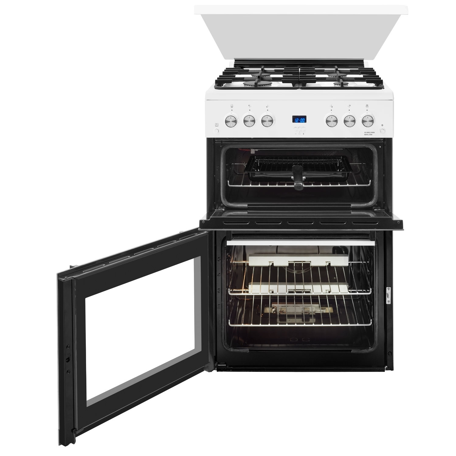 Beko 60cm Double Oven Gas Cooker with Glass Lid - White - 2